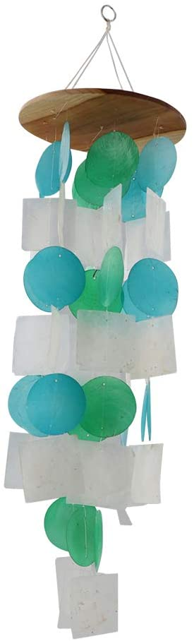 SandT Collection Geometric Capiz Wind Chime - Turquoise