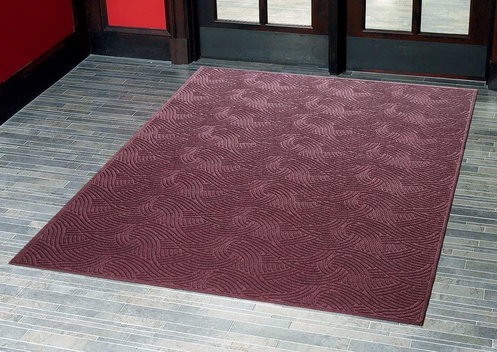 Consolidated Plastics Aquasorb Swirl Indoor/Covered Outdoor Heavy-Duty Entrance Floor Mat, Maroon, 22
