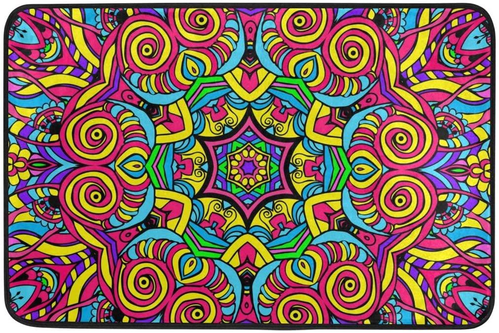 ALAZA Colorful Mandala Floral Doormat Non Slip Floor Mat Indoor Outdoor Entrance Bedroom Dorm Door Mat Home Decor 23.6x15.7 Inches