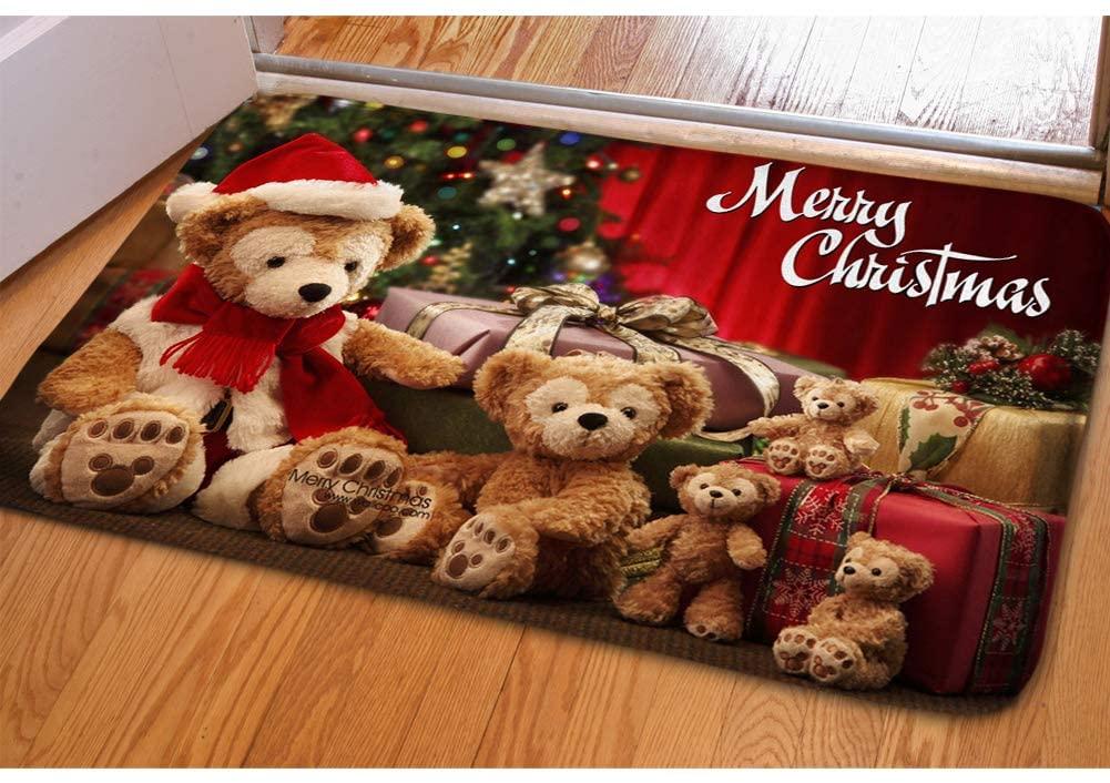 Cute Bear Christmas Door Mat for Bedroom Children's Room Bibulous Kitchen Bathroom Bath Floor Mat Non Slip Easy Clean Entrance Doormat Soft Flannel Doorway Indoor Small Area Rug