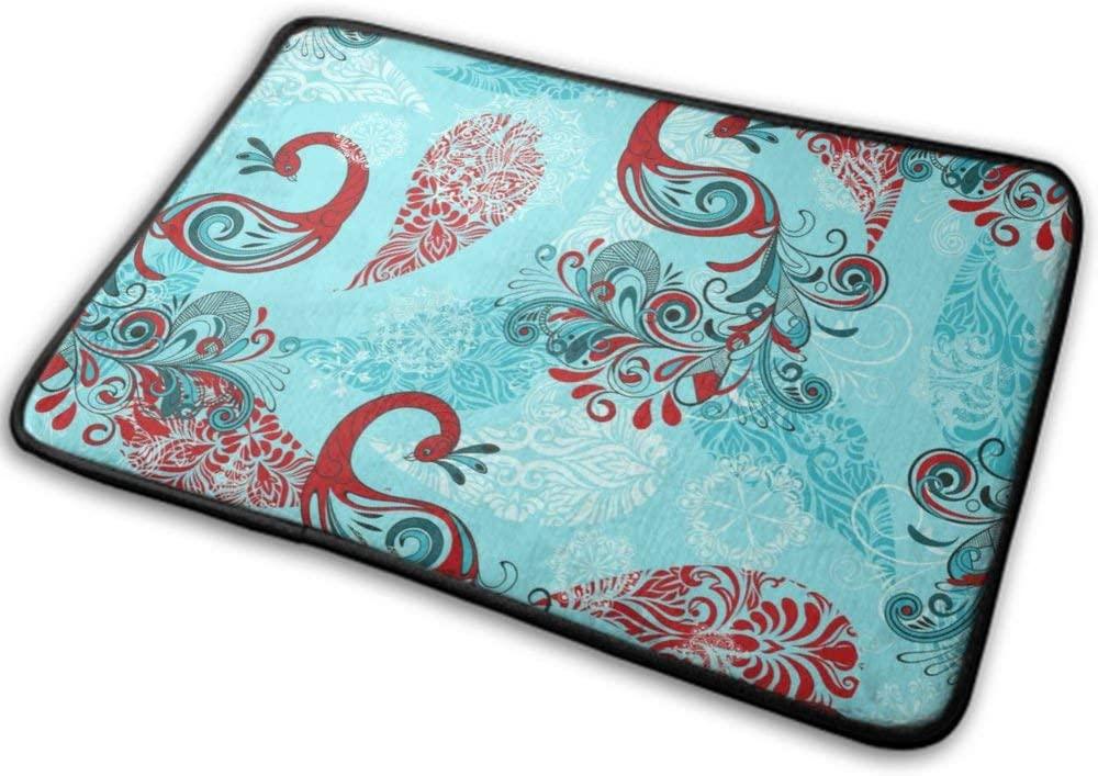 NiYoung Bath Rugs Non Slip (40cmx60cm) Fashion Pattern Tropical Birds Peacock Warm Super Cozy