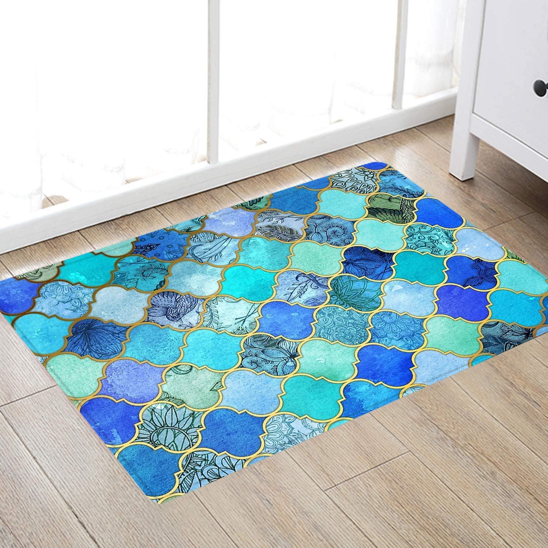Moroccan Lattice Print Memory Foam Bath Rugs and doormats Non Slip Absorbent Super Cozy Flannel Bathroom Rug Carpet 30 x18 inches