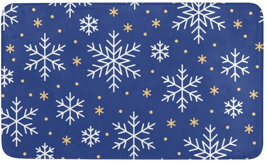 CUXWEOT Christmas Snowflakes Blue Door mat Entrance Door Rugs Non-Slip Backing Ultra Absorbent Welcome Doormat Decor Office Garden Kitchen Mats 23.6 x 15.7 Inch
