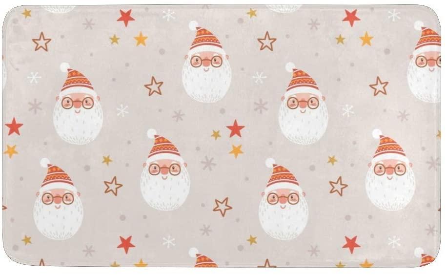 CUXWEOT Christmas Santa Claus Funny Winter Door mat Entrance Door Rugs Non-Slip Backing Ultra Absorbent Welcome Doormat Decor Office Garden Kitchen Mats 23.6 x 15.7 Inch