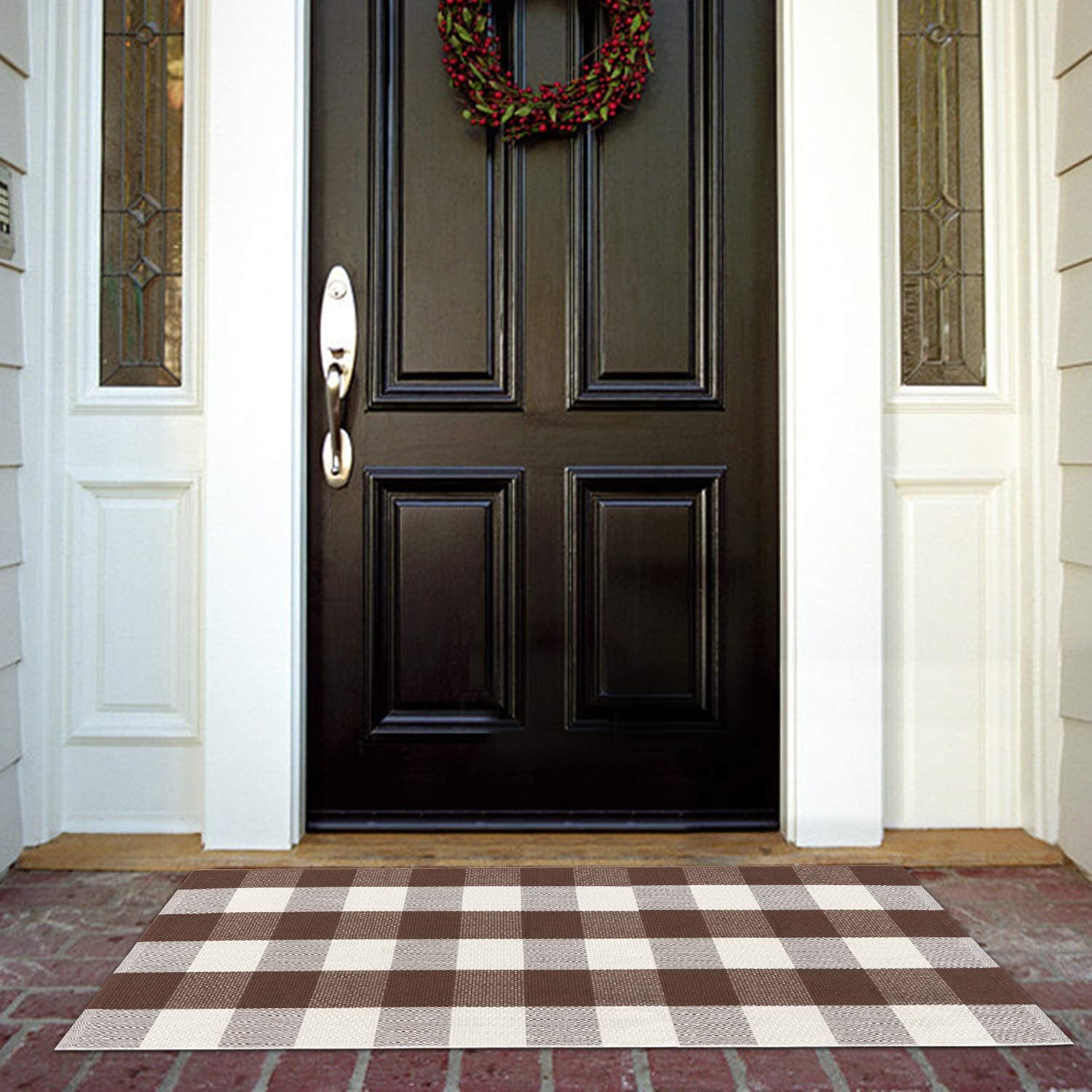 Cotton Buffalo Plaid Checke Rug 24'' x 51'', KIMODE Farmhouse Brown/White Woven Layered Welcome Door Mat, Washable Porch Floor Runner Rug for Frontdoor Kitchen Entryway Outdoor Decoration