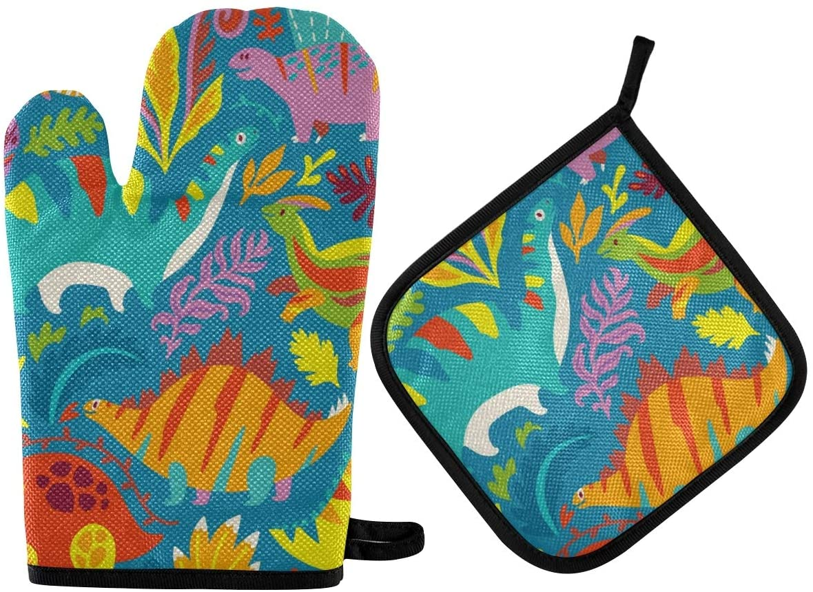 ATONO Colorful Cute Dinosaur Oven Mitts & Potholders Stes Washable Non-Slip Insulated Hot Grilling Gloves for Kitchen Dining BBQ Baking Cooking