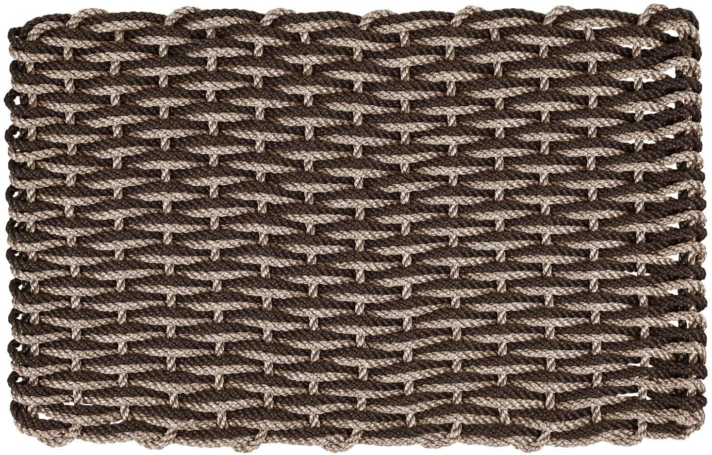 ColorWave Nautical Rope Doormat, Handwoven Dual Weave Reversible Welcome Mat, Chocolate and Bronze, 18 x 30