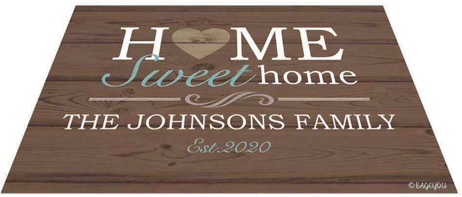 BAGEYOU Home Sweet Home Doormat Custom Family Floor Mat Outdoor 27.5