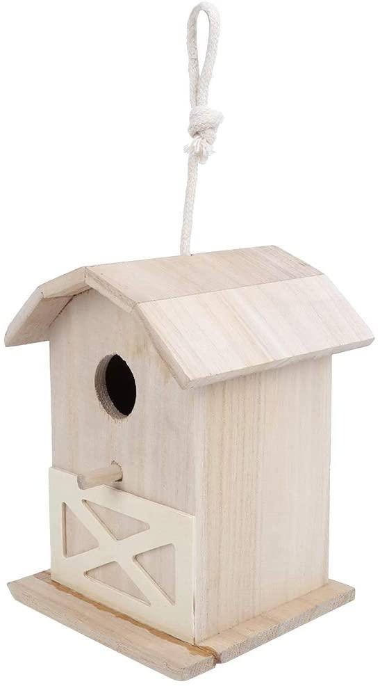 Bird House - Mini Outdoor Wooden Bird House Nesting Cage Accessory for Garden Patio Decoration Ornament