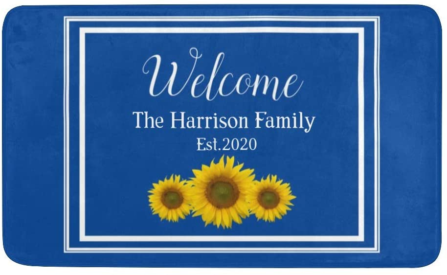 Personalized Doormat with Family Name, Yellow Sunflower Welcome Rug Doormat, Anti-Slip Bath Floor Kitchen Door Mat Rugs 30 X 18 Inches Decor