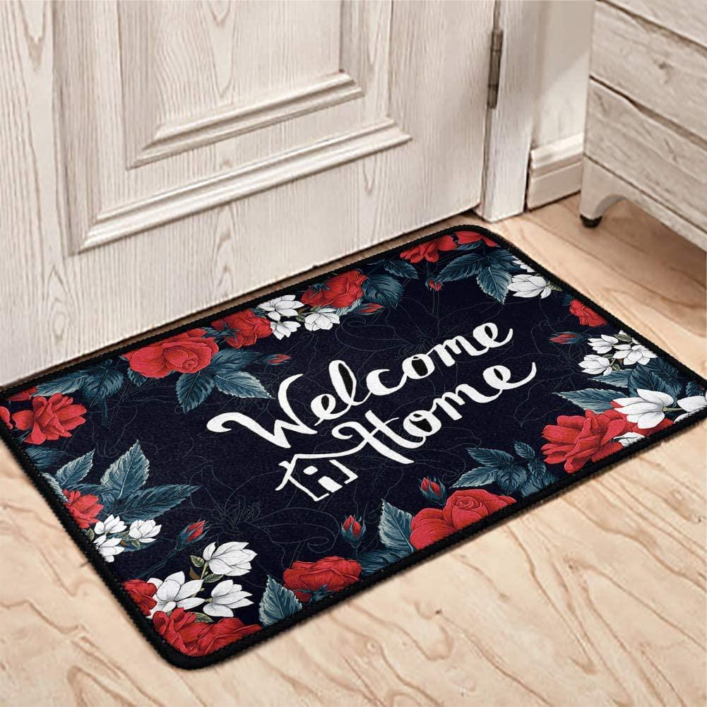 Buybai Floor Doormat Welcome Front Entrance Door Mat Durable Non-Slip Rugs Welcome Carpet for Bedroom Living Room Bathroom Office