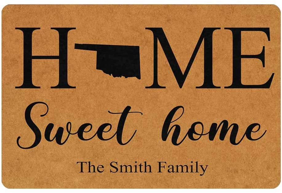 Custom Family Name Funny Black Map Home Sweet Home Doormat 24