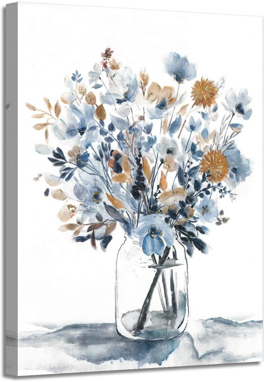 "Abstract Flower Bouquet Wall Art: Gray Blue Floral in Jar Painting Blossom Picture on Canvas for Bedroom (24"" x 18"" x 1 Panel)"