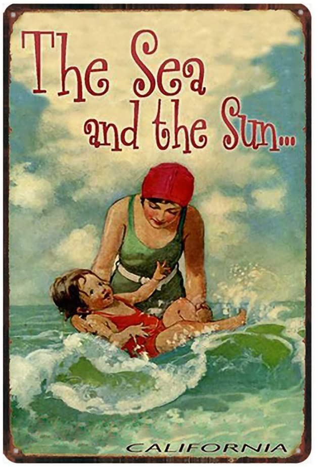16x12- The Sea and The Sun,Tin Sign Vintage Funny Creature Iron Painting Metal Plate Novelty
