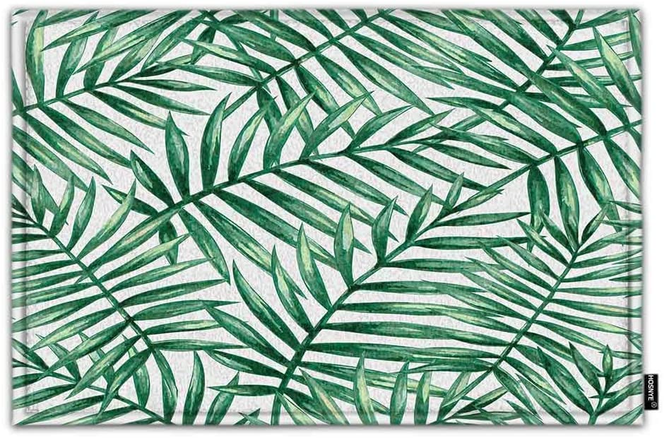 HOSNYE Palm Leaves Doormat Bath Floor Kitchen Door Rugs Mat Watercolor Tropical Green Laef Super Soft Flannel Fabric with Inner Thick Sponge