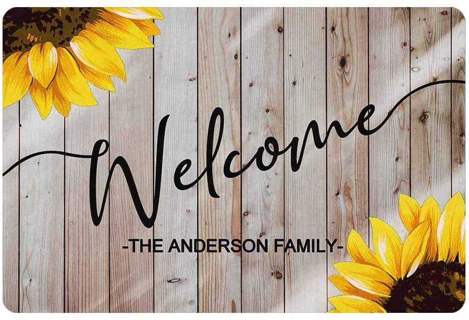 MyPhotoSwimsuits Personalized Your Family Name Custom Sunflower Welcome Doormat 24