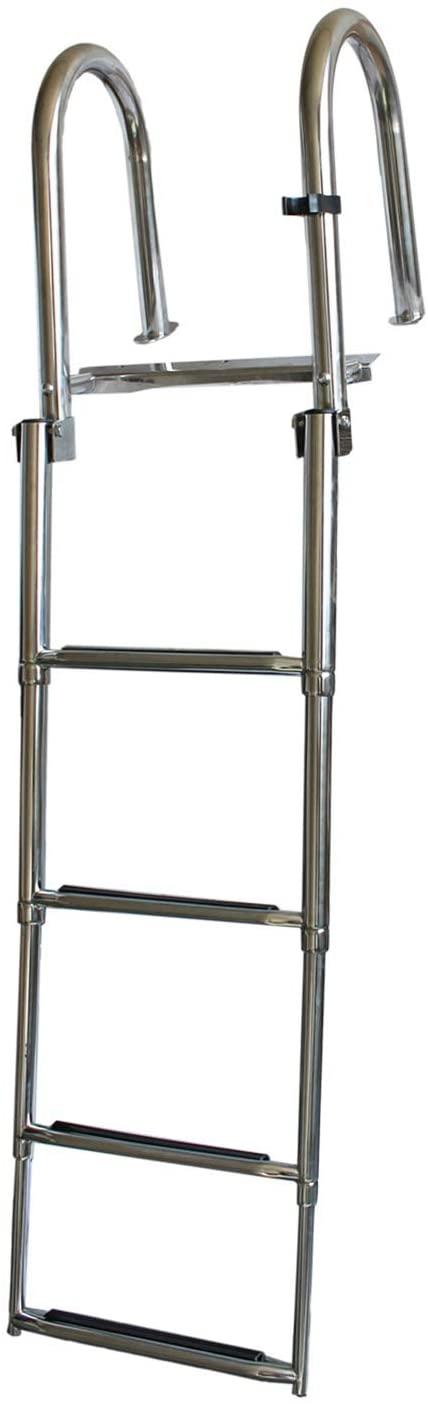 X-Haibei Folding Boat Ladder 4 Step Telescoping Rear Entry Over Platform Boarding Swim Stainless Steel Ladder