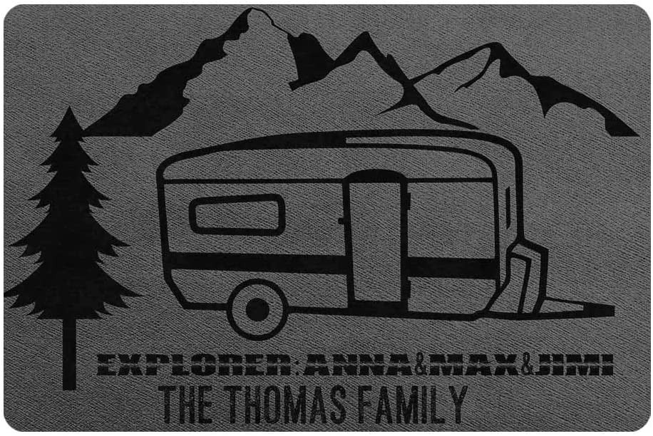 Artsadd Custom Door Mat Personalized Family Name and Explorer Name Camping Durable Rubber Back Welcome Doormat 24 x 16 Inches Indoor Outdoor Rug Decor for Camper Trailer or RV