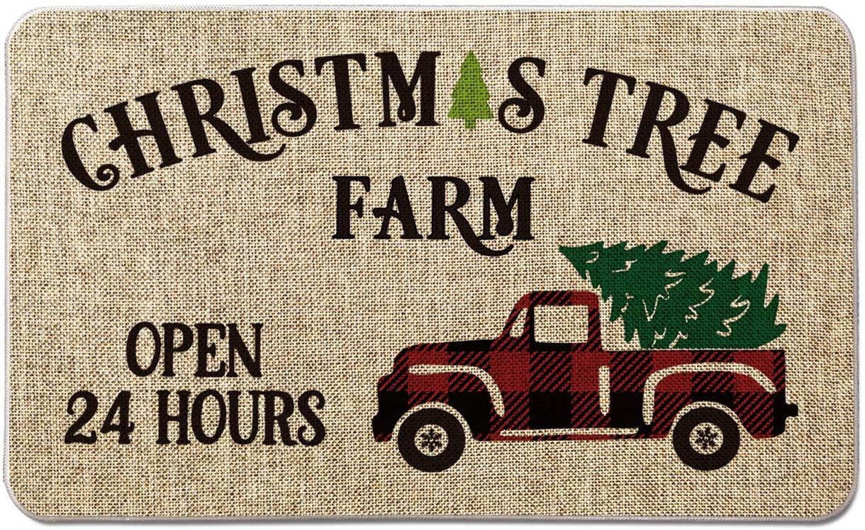 Artoid Mode Farm Truck with Christmas Tree Decorative Doormat Open 24 Hours,Seasonal Winter Christmas Holiday Low-Profile Floor Mat Switch Mat for Indoor Outdoor 17 x 29 Inch