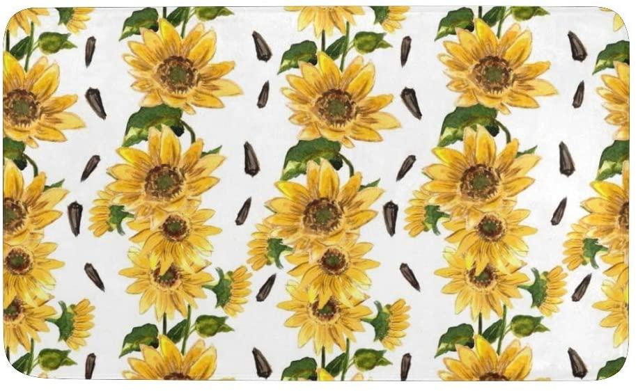 CUXWEOT Indoor Outdoor Doormat Non-Slip Backing Ultra Absorbent Mud Sunflowers Floral Pattern Door Mat Home Office Decorative Entry Rug Garden Kitchen Mats 23.6 x15.7 Inch