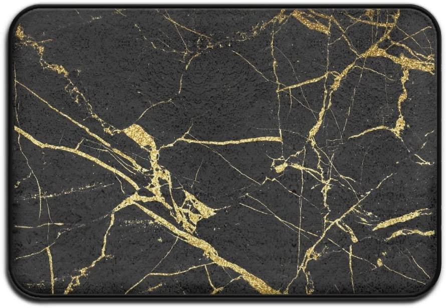 Chic Black and Gold Marble Texture Door Mat Entrance Mat Floor Mat Rug Indoor Outdoor Front Door Bathroom Mats Rubber Non Slip 17x24 Inch