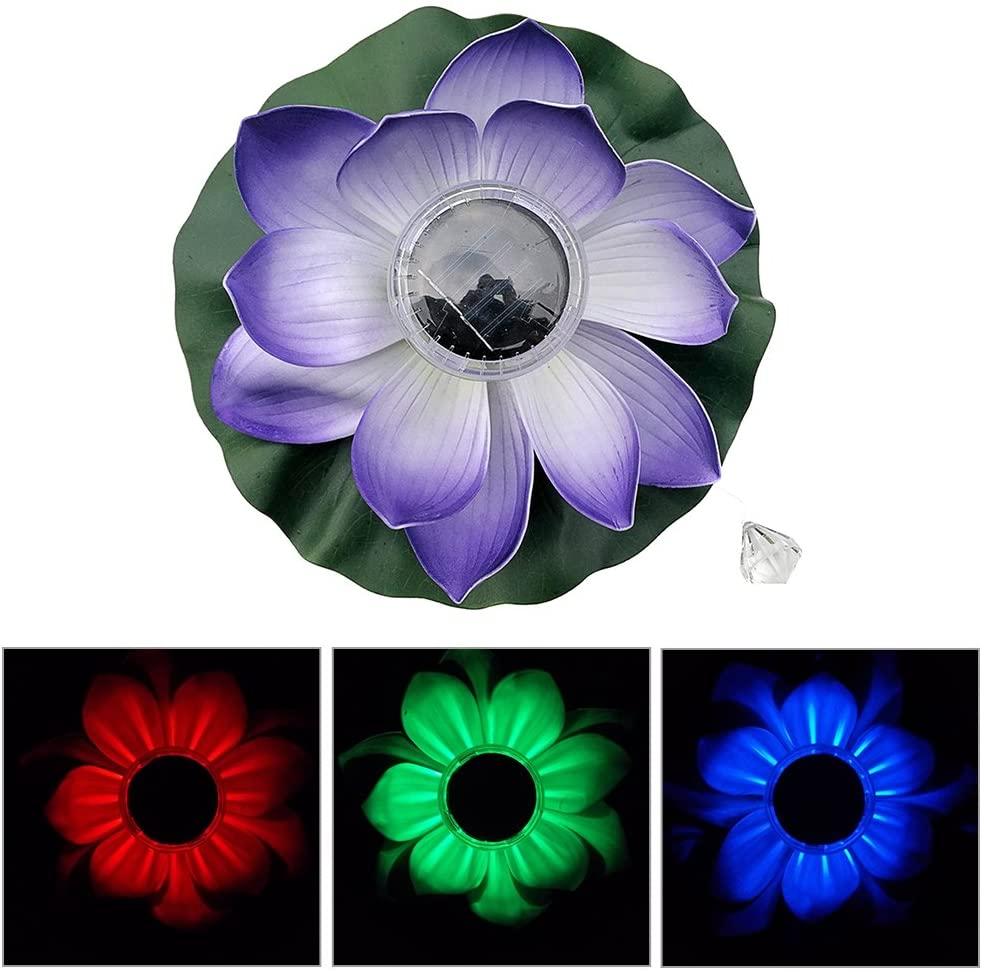 Aneil Floating Solar Lotus Lantern LED Lotus Wishing Light Colorful Floating Pond Decoration Light (Purple)
