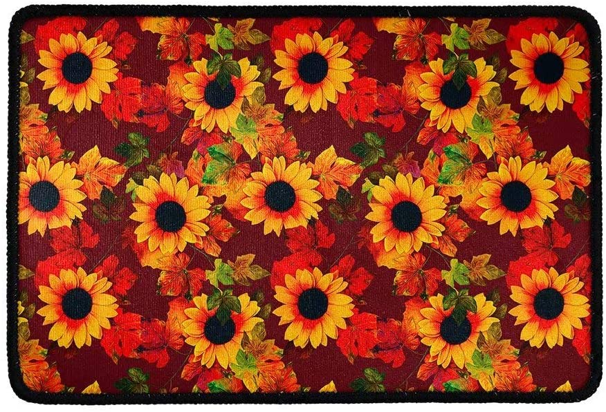 Dellukee Funny Doormats Sunflowers Red Print Indoor Outdoor Welcome Non Slip Rubber Durable Washable Home Decorative Door Mats Rugs 23x16 Inchs