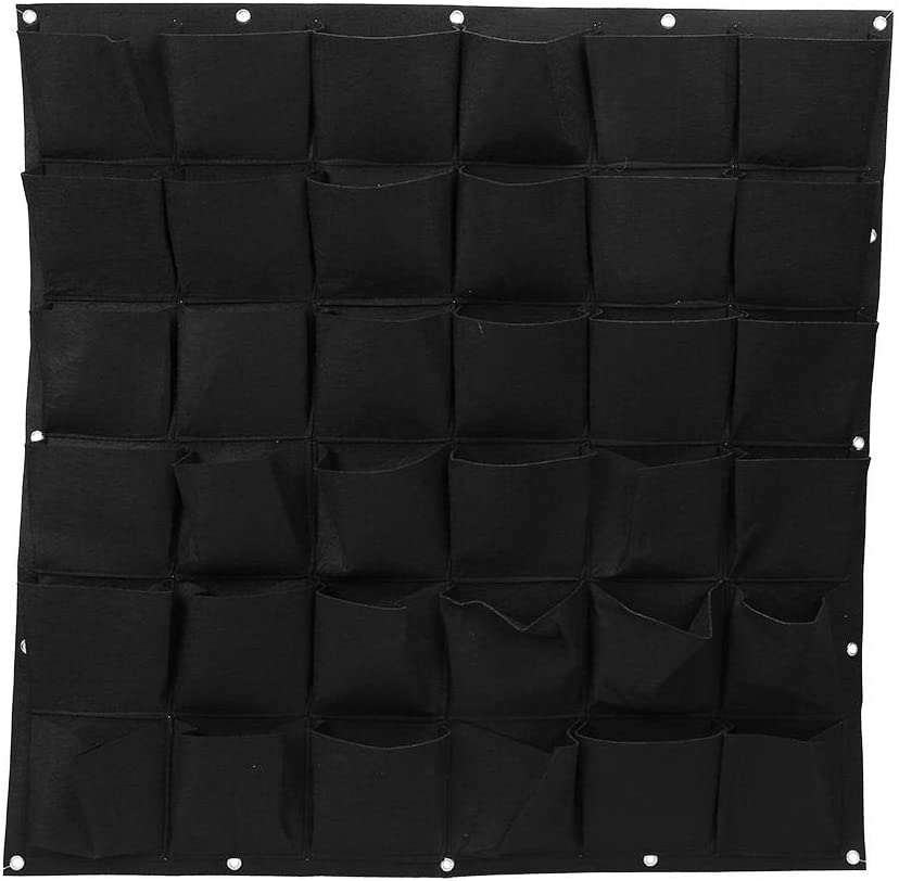 Atyhao Planting Bags - 36 Pockets Outdoor Vertical Greening Flower Hanging Wall Garden Plant Grow Felt Bags(Black)