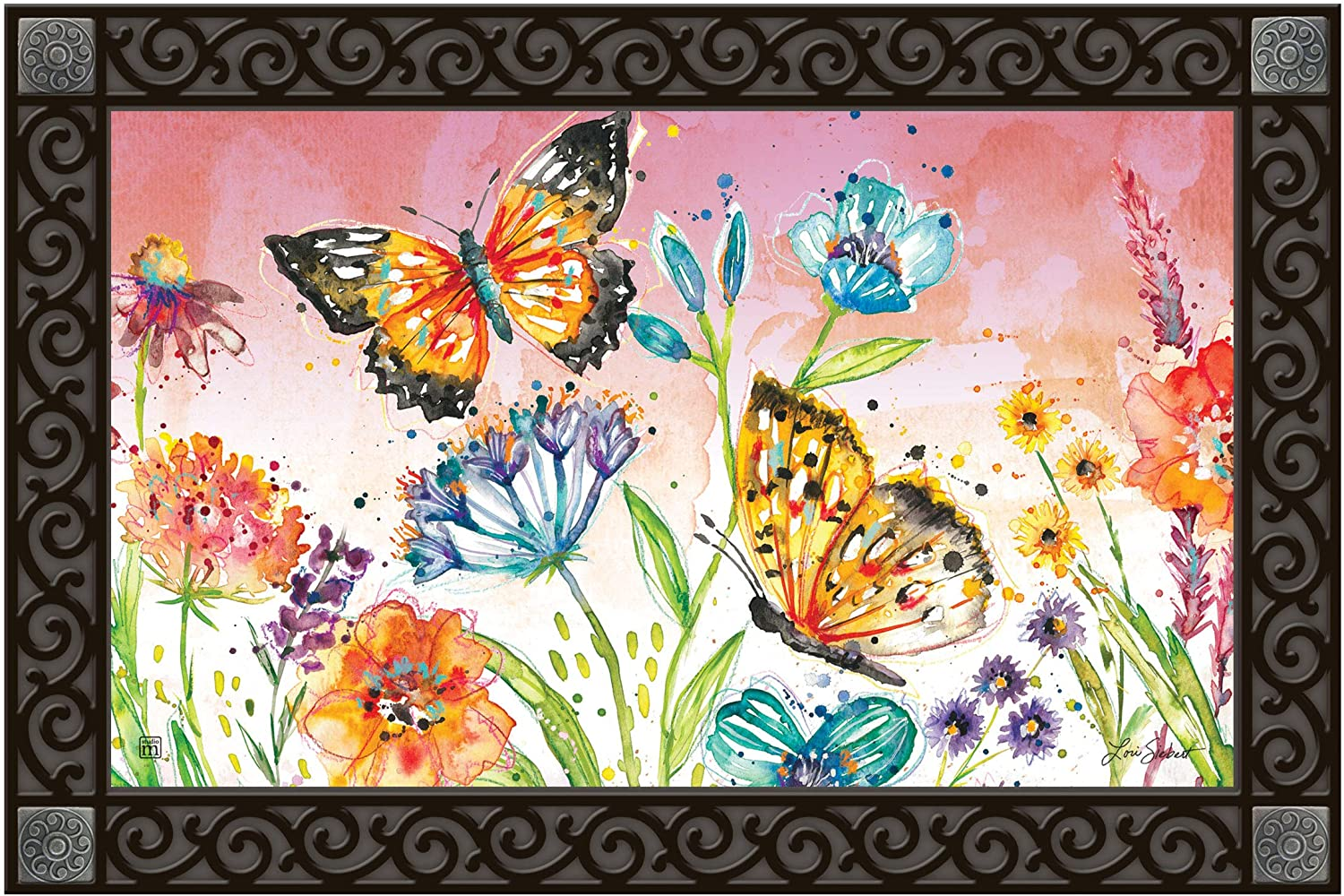 Studio M MatMates Butterfly Blossoms Decorative Floor Mat Indoor or Outdoor Doormat with Eco-Friendly Recycled Rubber Backing, 18 x 30 Inches