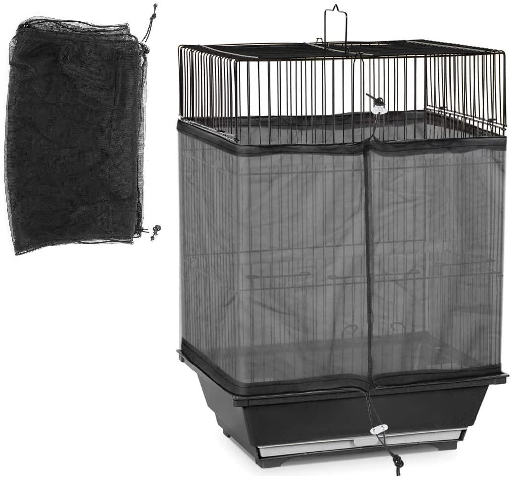 oenbopo Bird Cage Mesh Universal Birdcage Cover Bird Seed Guard Catcher Adjustable Drawstring Bird Cage Skirt Mesh Net Cover