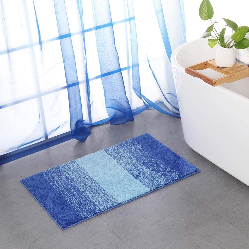 HOUTBY Bath Mats Soft Absorbent Floor Rug Carpet Non Slip Outdoor Entrance Doormats, Small/Blue Stripe