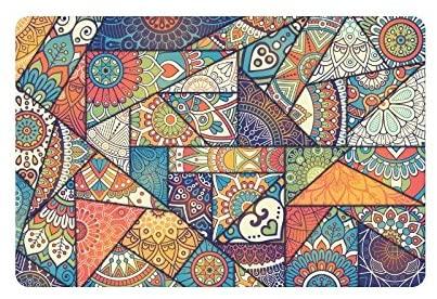 InterestPrint Patchwork Vintage Bohemian Boho Elements Doormat Non Slip Indoor/Outdoor Floor Mat Home Decor, Door Mat Entrance Rug Rubber Backing 23.6