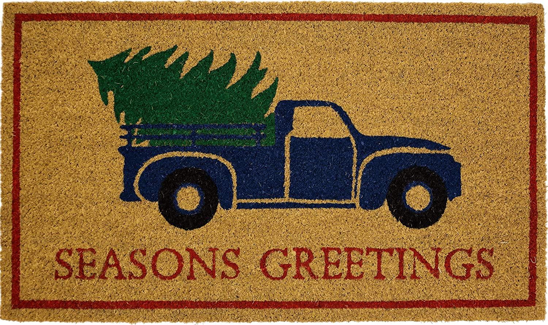 Avera Products | Seasons Greetings, Natural Coir Fiber Welcome Mat, Anti-Slip PVC Mat Back
