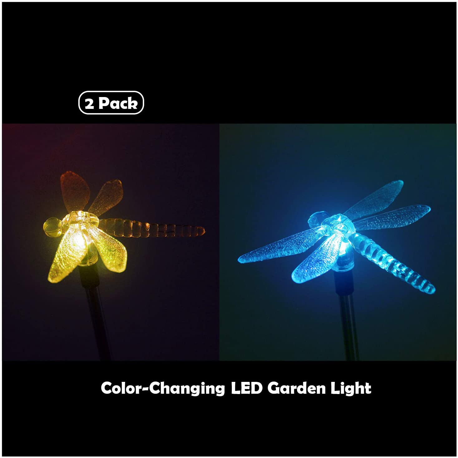 Solar Powered Garden Lights, 2 Pack Color Changing LED Landscape Path Lights Outdoor Figurine Lights in-ground Light Decorative Stake Light for Pathway Lawn Patio Driveway Yard, Dragonfly