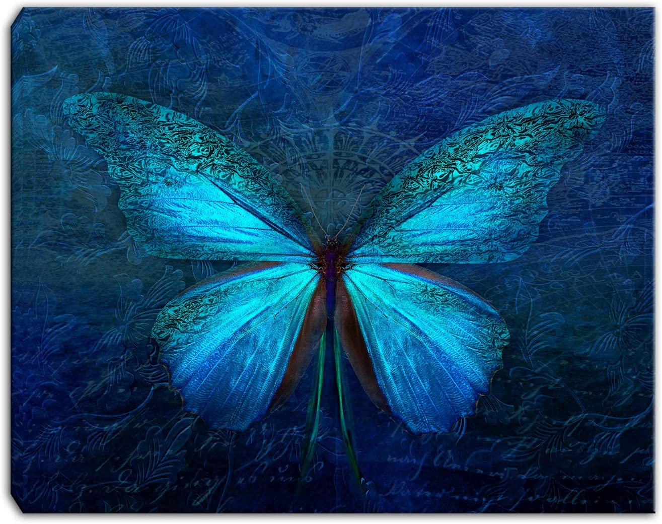 Artsbay Butterfly Canvas Wall Decor Vintage Turquoise Butterfly in Flower Background Blue Wall Art Framed Modern Butterfly Pictures Painting Artwork Home Art for Girl Room Bedroom Decor Ready to Hang