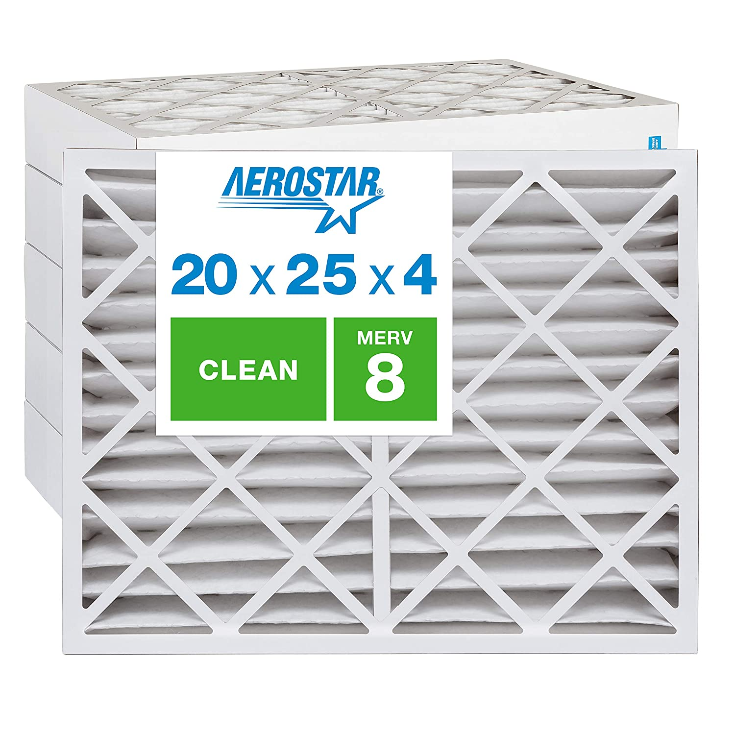 Aerostar Clean House 20x25x4 MERV 8 Pleated Air Filter, Made in the USA, (Actual Size: 19 1/2