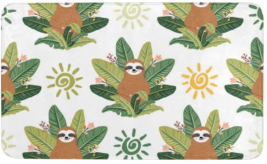 Tropical Leaves Sloths Rug Doormat Indoor Outdoor Entrance, Anti-Slip Bath Floor Kitchen Rugs Door Mat 23.6 X 15.7 Inches Entryway Home Decor