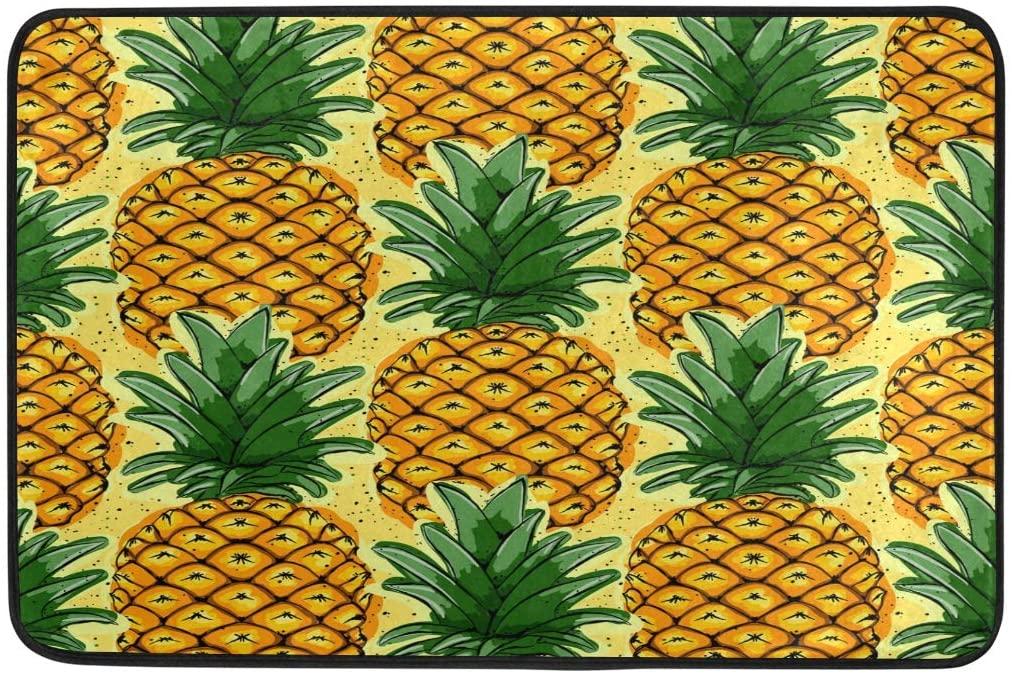 ALAZA Fruit Pineapple Vintage Doormat Non Slip Floor Mat Indoor Outdoor Entrance Bedroom Dorm Door Mat Home Decor 23.6x15.7 Inches