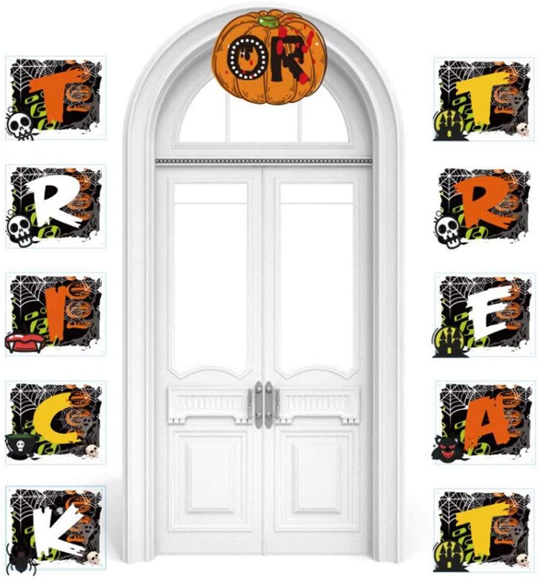 Fbaby Halloween Trick or Treat Banner for Home Indoor Outdoor Halloween Banner Hanging Decorations Halloween Porch Hanging Banner for Office Front Door Party Decor Supplies