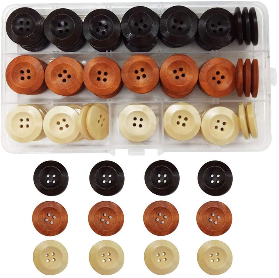 IDOXE Assorted Round Sewing Wood Wooden Buttons for Crafts Brown Beige 1 inch 25mm 4 Hole DIY Supplies