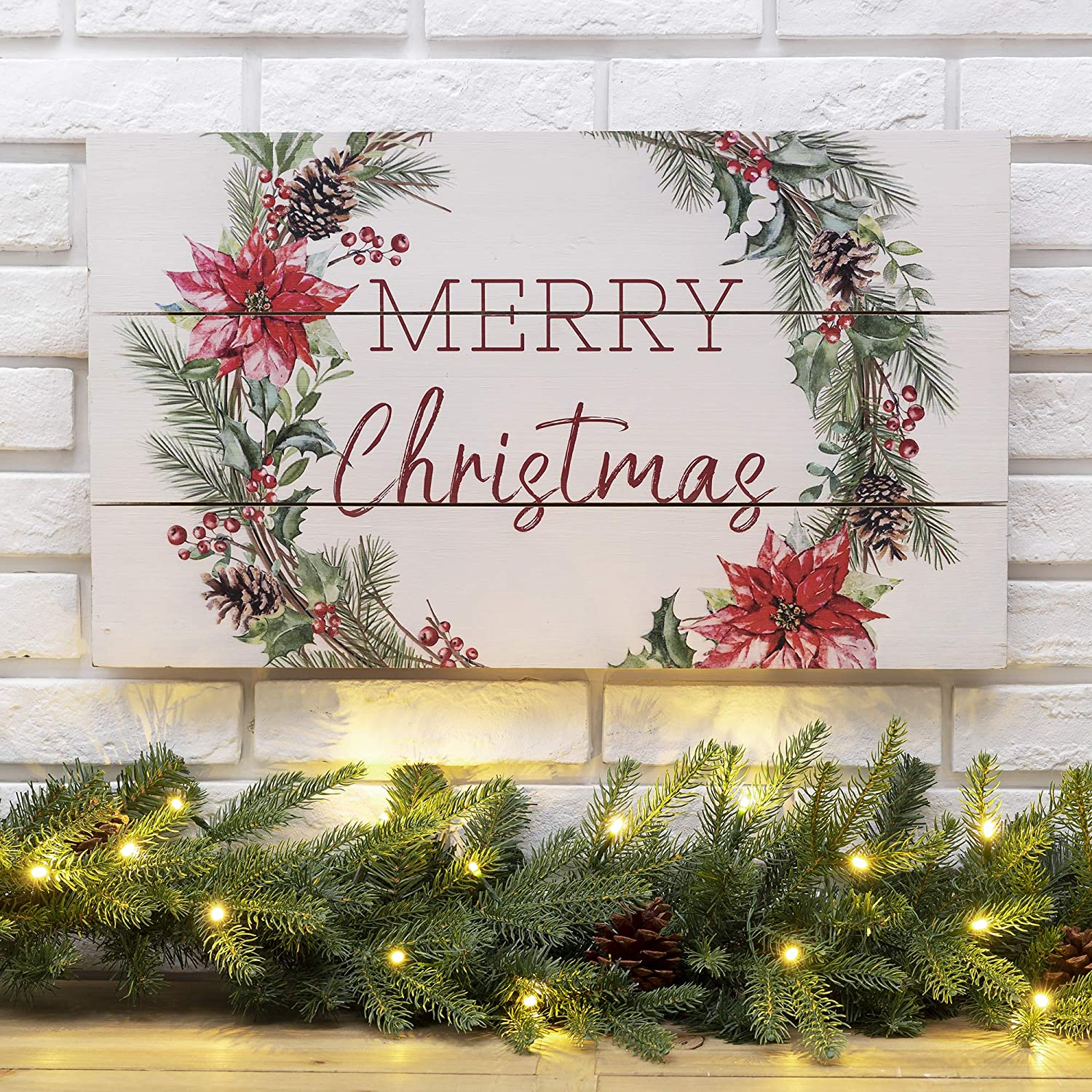 Glitzhome Rustic Christmas Wall Sign Decorative Hanging Wood Wall Art Sign Plaque Decor Distressed Merry Christmas Wall Decor Sign Christmas Home Decor Accent, 24 x 14 Inches
