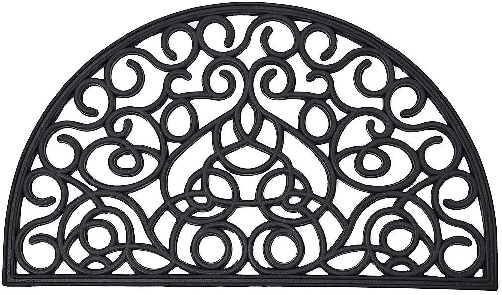EVIDECO 1440395 Outdoor Half Round Front Door Mat Rubber Rug 30x18 Inch Black, 18 W x 30 L x 1/2 H