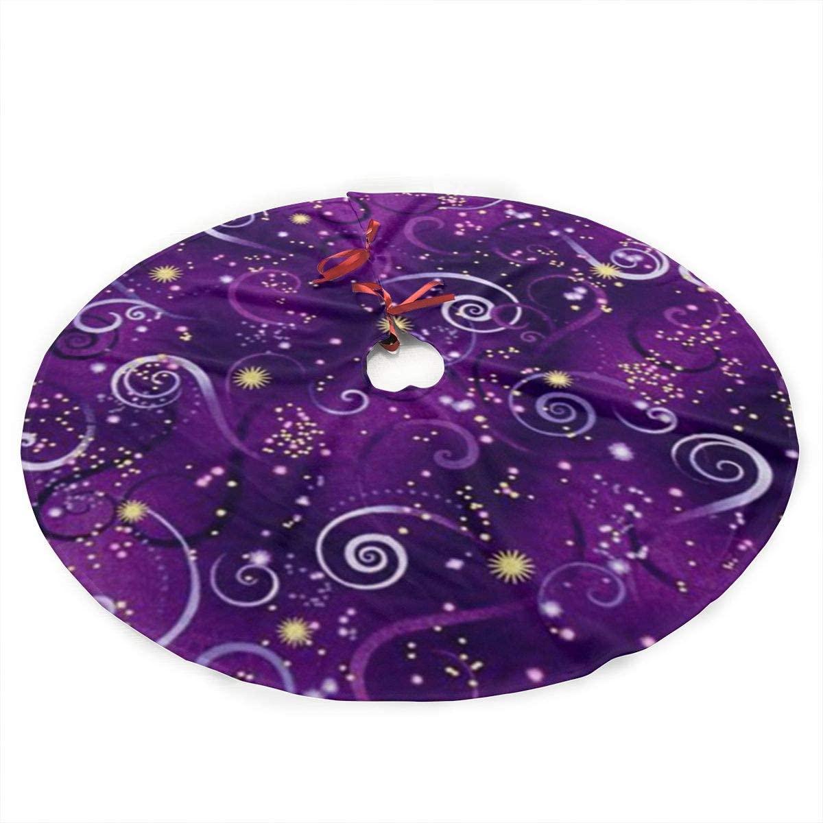 antkondnm Dragonfly Metallic Swirling Sky Deep Purple Christmas Tree Skirt - 36