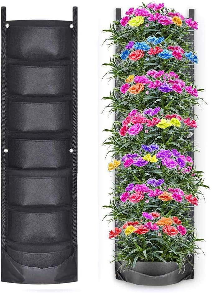 Tavot Garden Plant Bag, Vertical Hanging Garden Planter with 7 Pockets Waterproof Wall Mount Planting Pouch for Garden Balcony