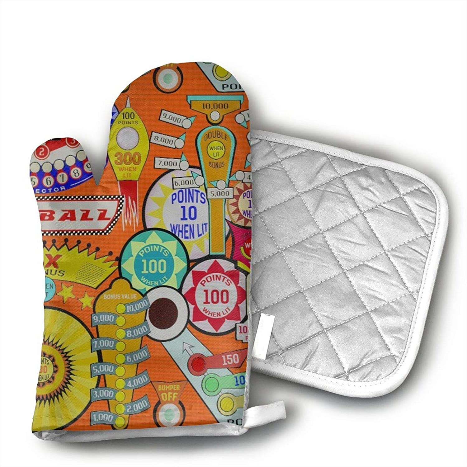 antcreptson Cartoon Pinball Orange Oven Mitts and Potholders BBQ Gloves - Non-Slip Cooking Gloves for Kitchen Cooking Baking Grilling