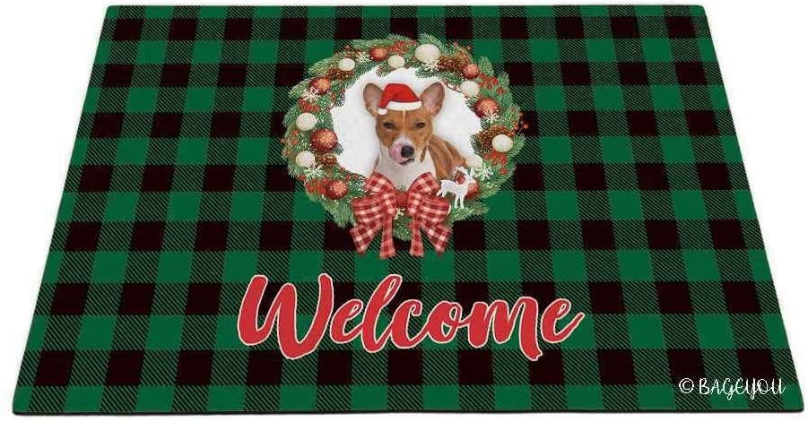 BAGEYOU Merry Christmas with My Beloved Dog Puppy Basenji Green Buffalo Check Plaid Outdoor Doormat Winter Holiday Wreath Decorative Seasonal Decor Porch Rugs Floor Mat 23.6