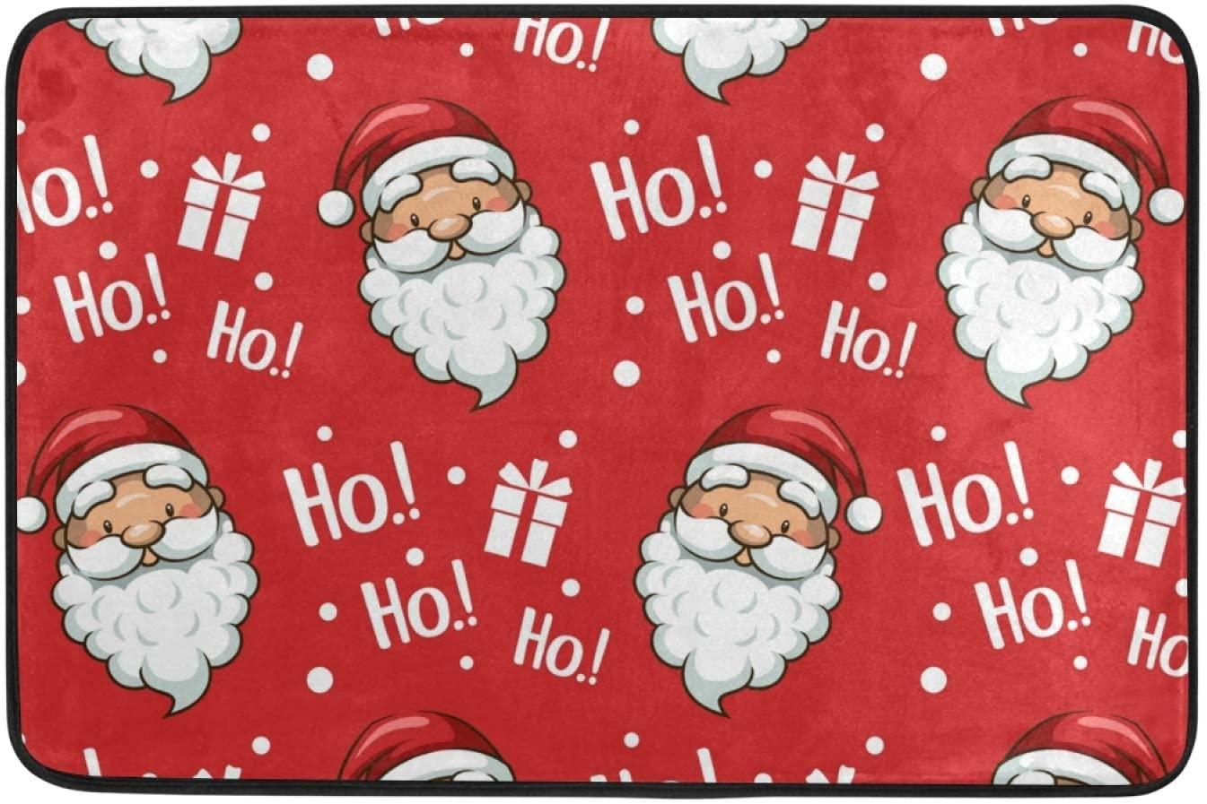 Moudou Christmas Santa Claus Doormat Non Slip Floor Mat Indoor Outdoor Entrance Kitchen Bath Garden Carpet 23.6 x 15.7 Inch