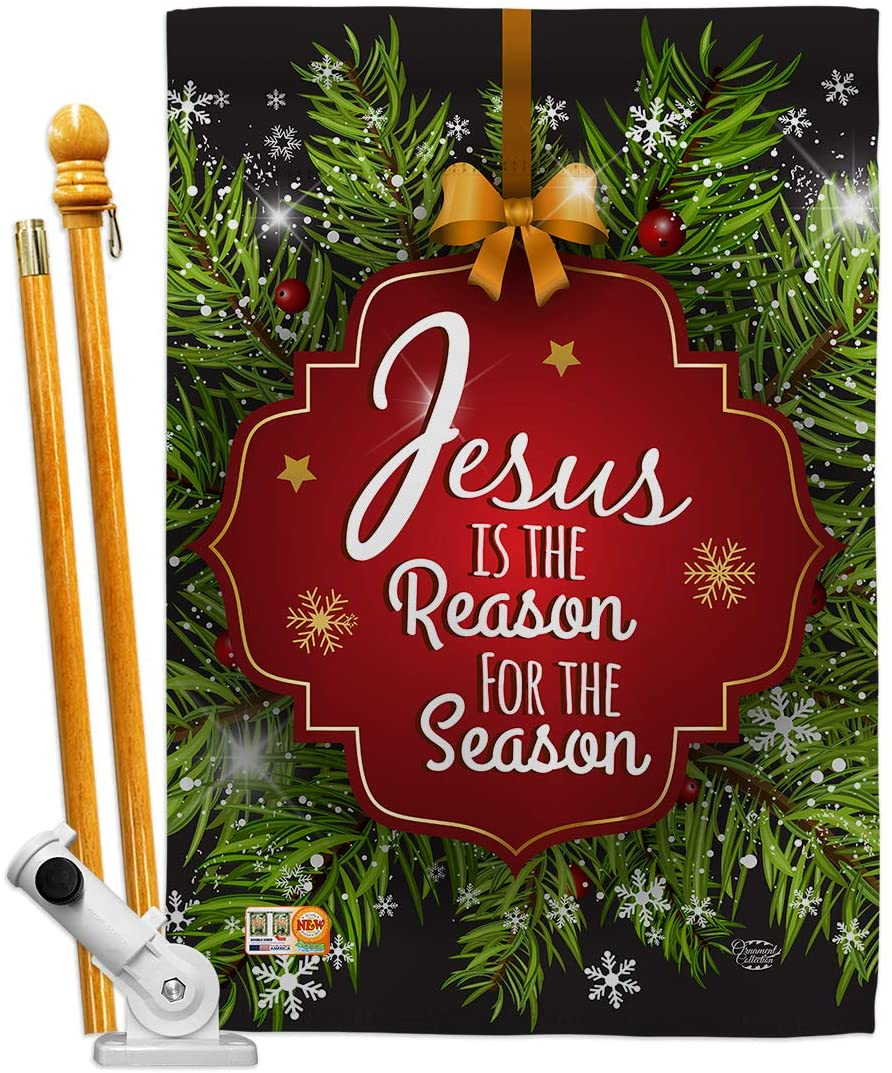 Ornament Collection HS191059-BO Jesus is The Reason Winter Nativity Decorative Vertical House Flag Set, 28
