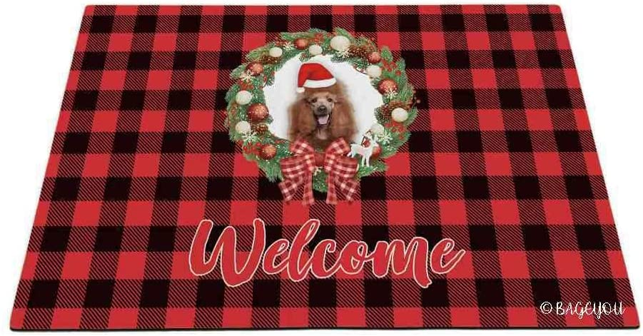 BAGEYOU Merry Christmas with My Beloved Dog Red Standard Poodle Red Buffalo Check Plaid Outdoor Doormat Winter Holiday Wreath Decorative Seasonal Decor Porch Rugs Floor Mat 27.5