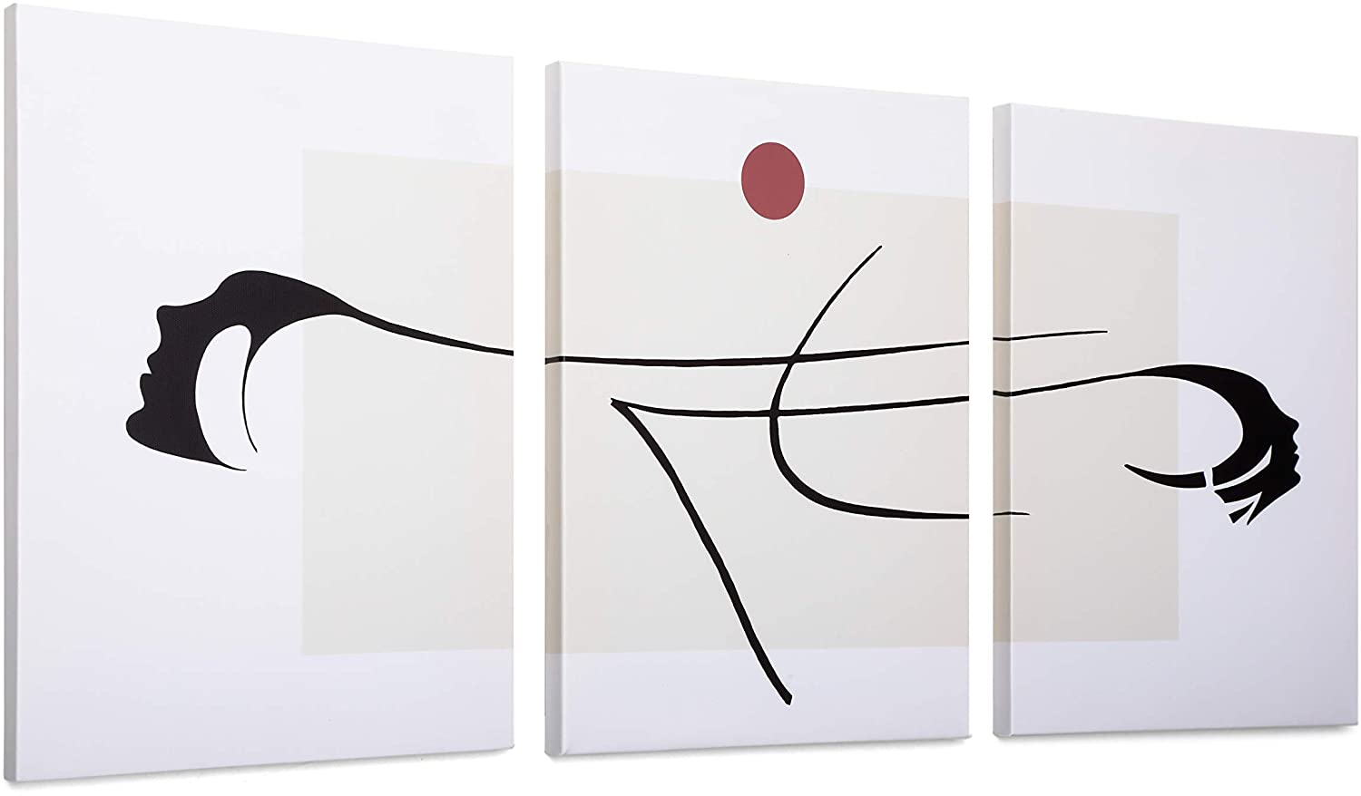 Minimalist Decor for Living Room-3 Panel Japanese Room Decor-Minimal Wall Decor-Wall Canvas Art Work for Dorm-Wall Art Set of 3-12x16 Inch/Piece-Rustic Bedroom Decor for Couples (Sunlight and Face)